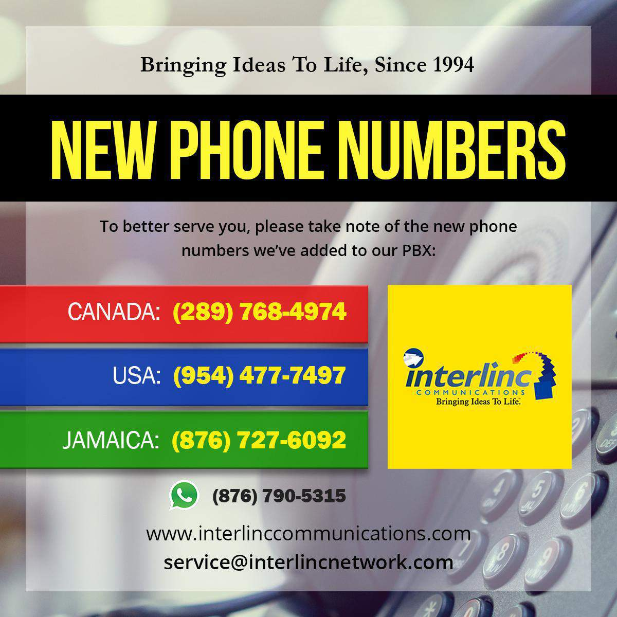New Phone Numbers and Contacts for Interlinc Communications