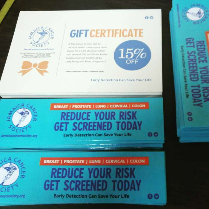Bookmarkers and Gift Certificates printed for the Jamaica Cancer Society
