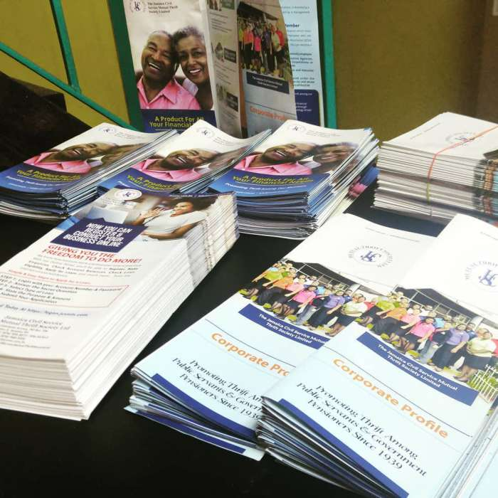 Brochure design and printing for the Jamaica Civil Service Mutual Thrift Society