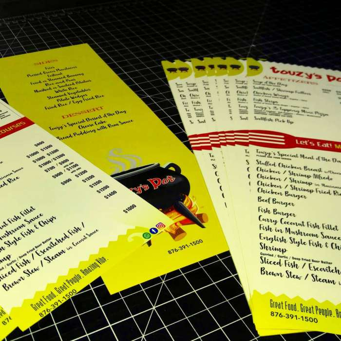 Water, oil and tear resistant menu design and print for restaurant