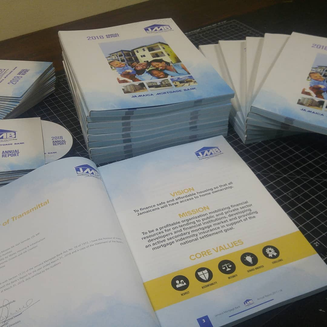 Annual Reports designed and printed for client, Jamaica Mortgage Bank