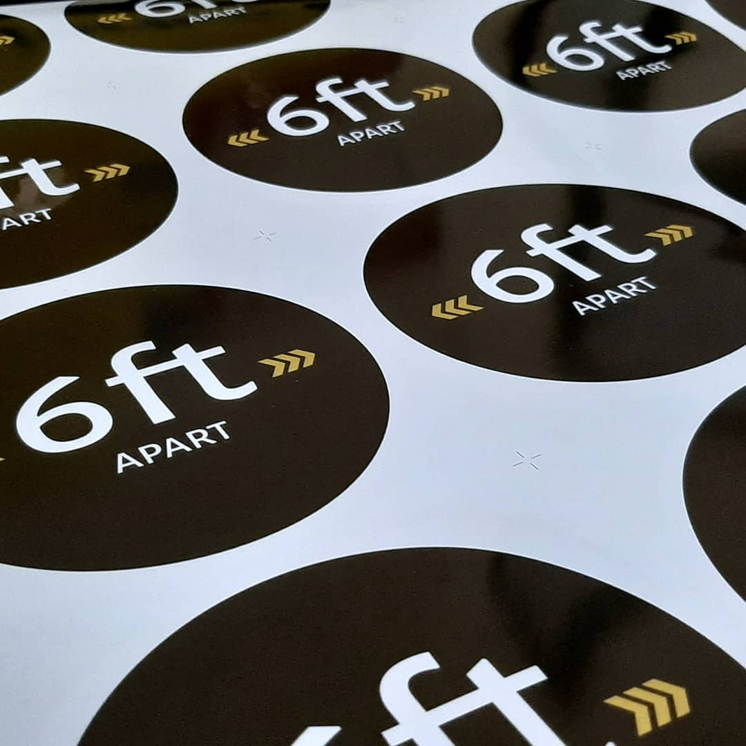 Social distance floor markers design and print Interlinc Communications